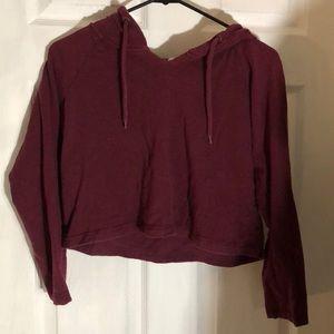 Crop top hoodie maroon